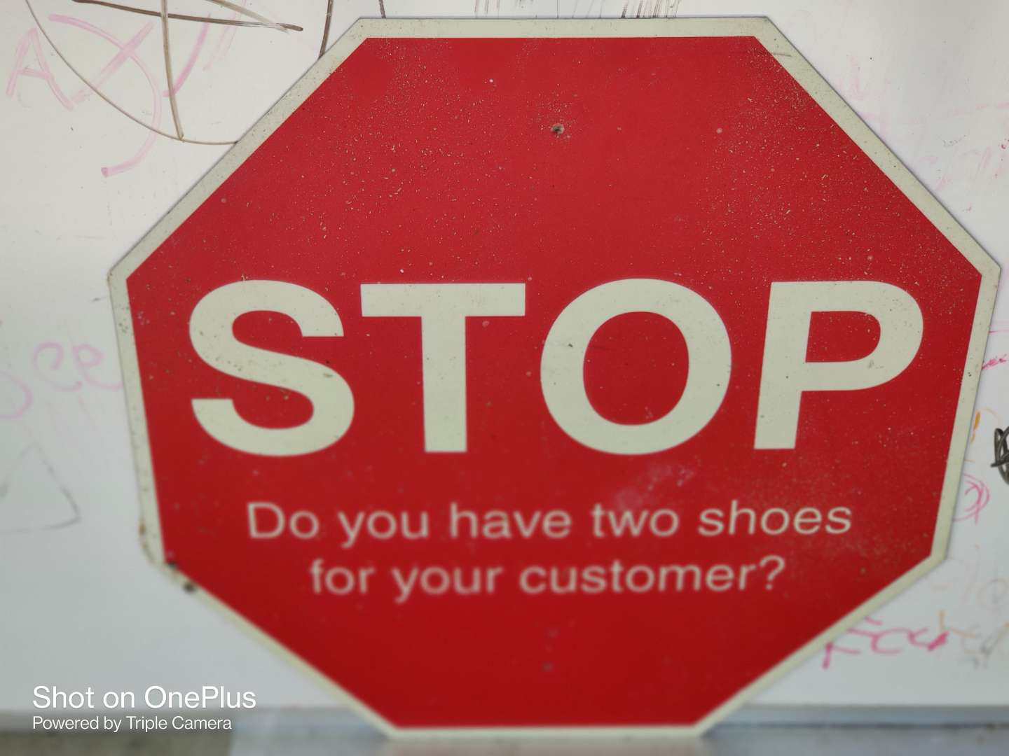 407 stop sign do you have two shoes for customer