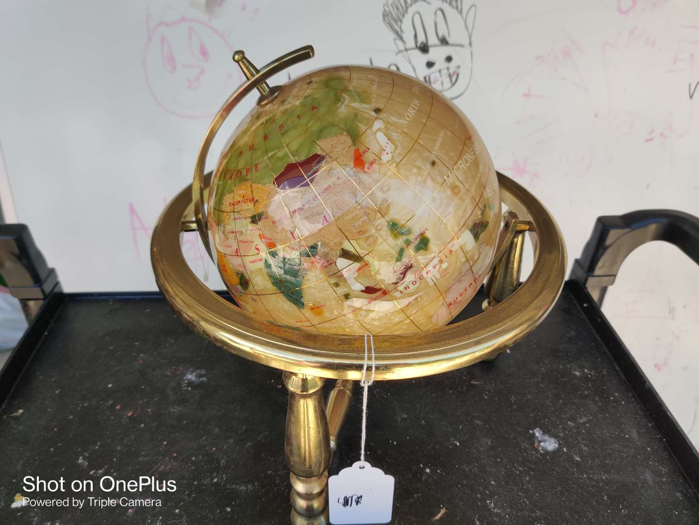 430 lapis gemstone globe on stand very nice