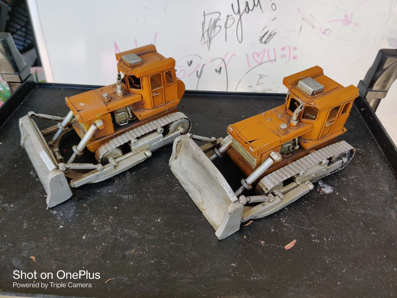 434 two metal bulldozer tractors decorator pieces great condition
