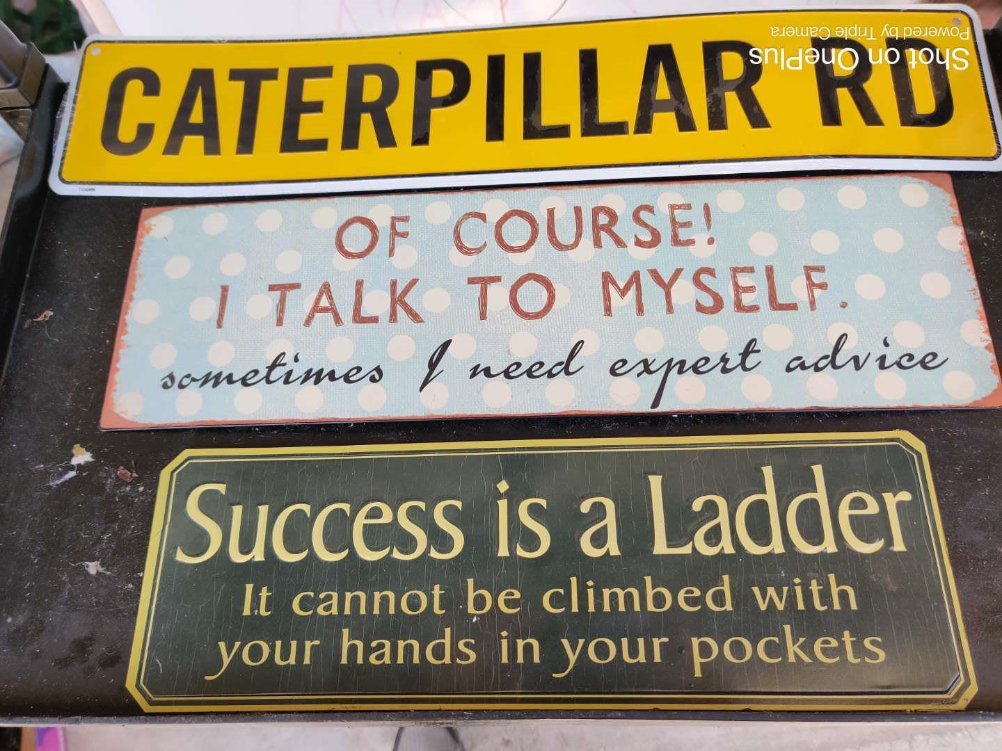 437 lot of three metal signs caterpillar and more