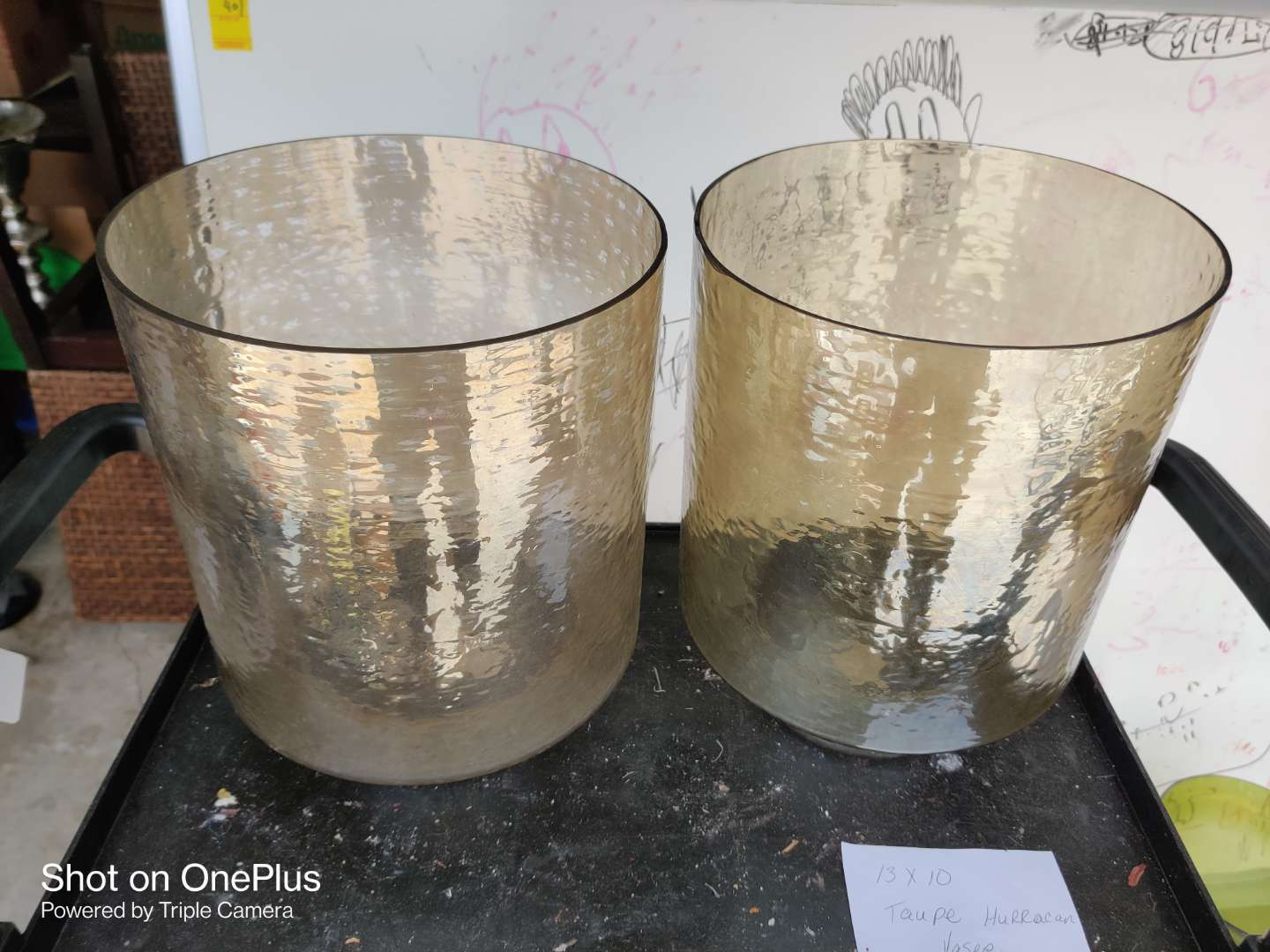 457 pair of taupe hurricane vases 13 in x 10 in