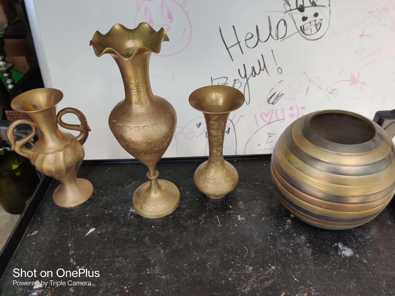 460 lot of four brass vases