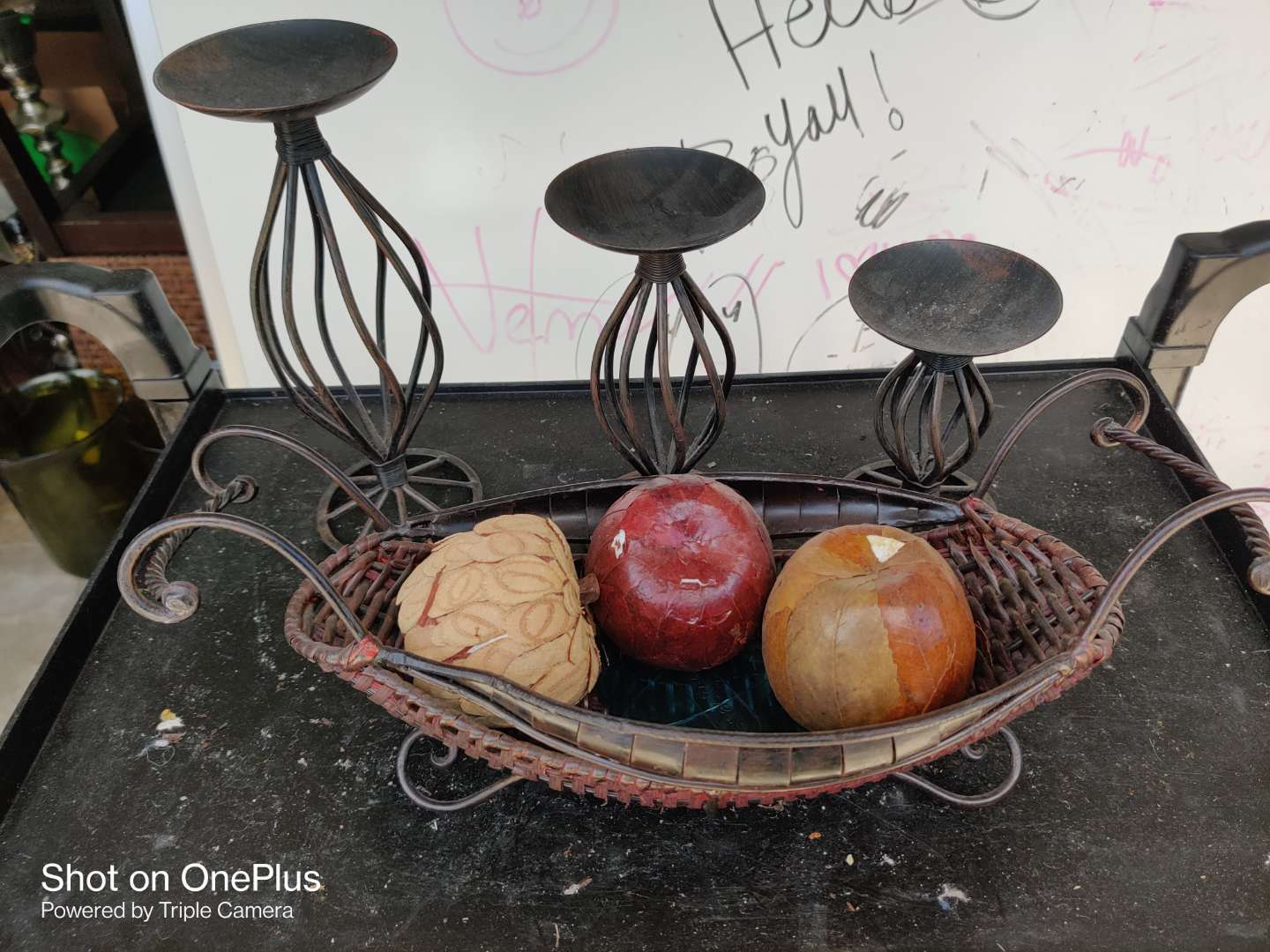 461 lot of three candle holders and a fruit basket