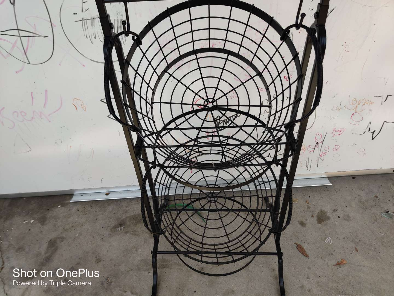 476 black iron vegetable holder dryer baskets stand
