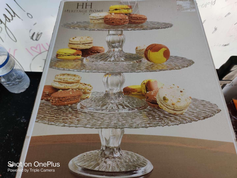 488 HH heritage home three tiered glass dessert server