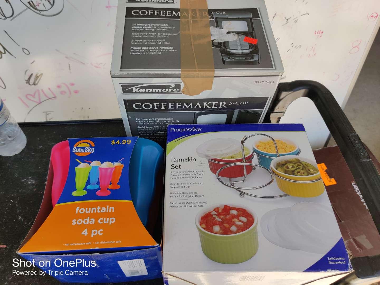 489 Lot of four items in the box ramekin set sun and sky fountain soda cups Kenmore coffee maker