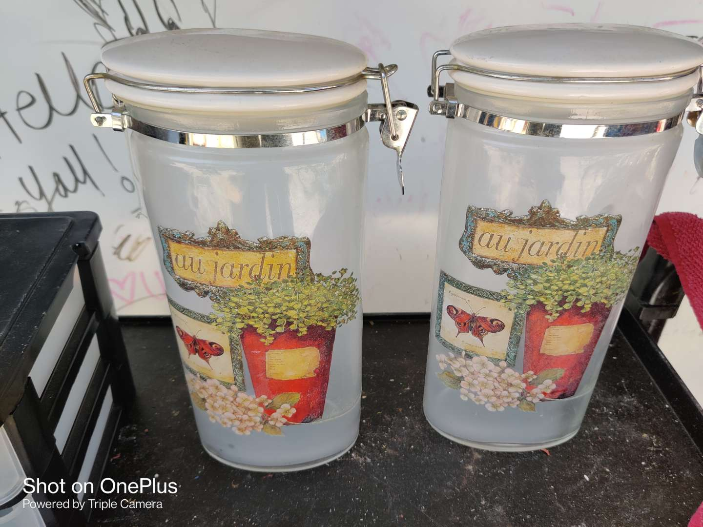 497 two glass containers with lids