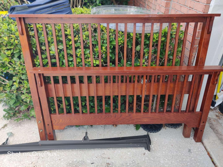 508 queen size oak headboard footboard and rails