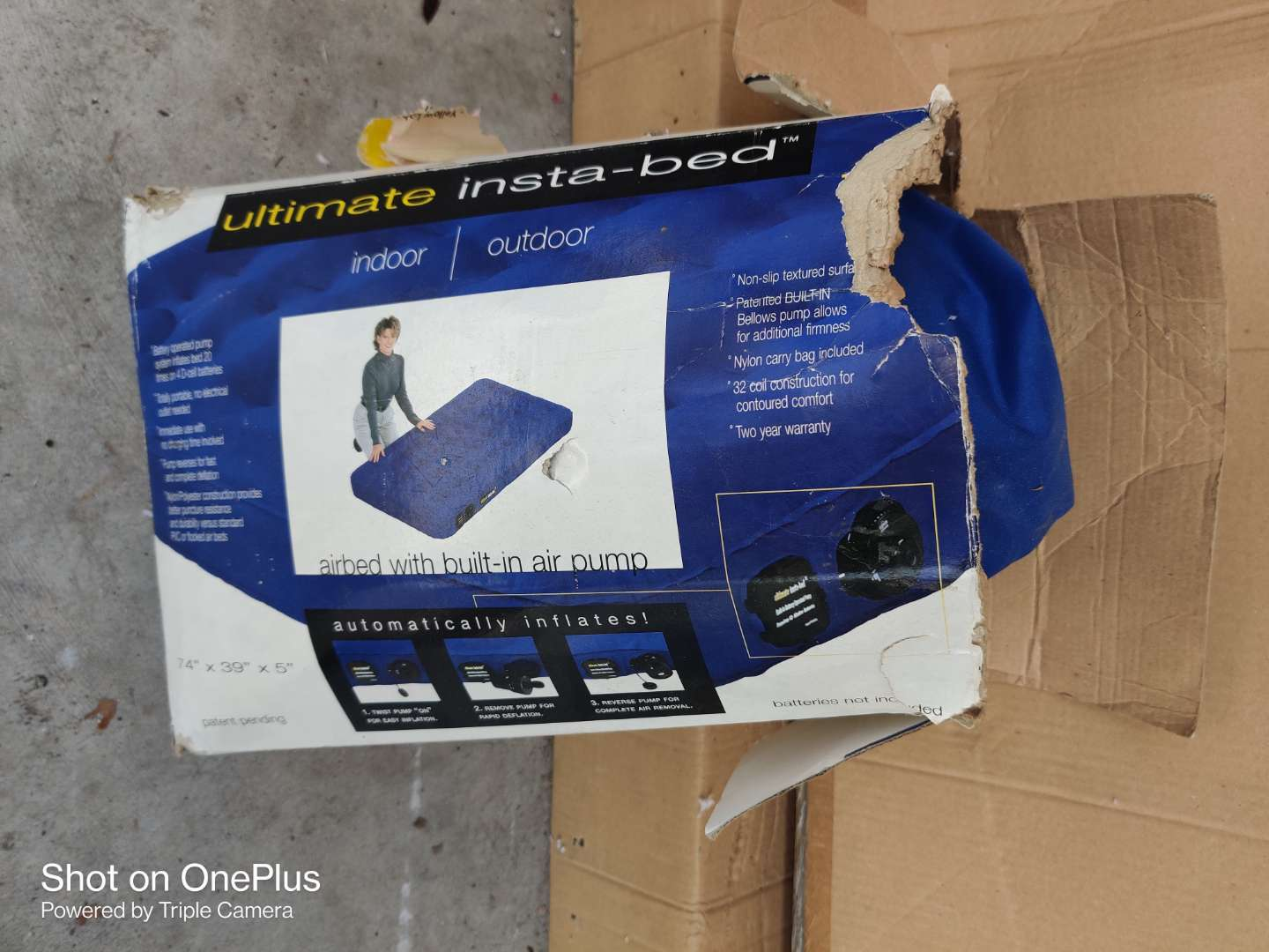 518 instabed air mattress in box