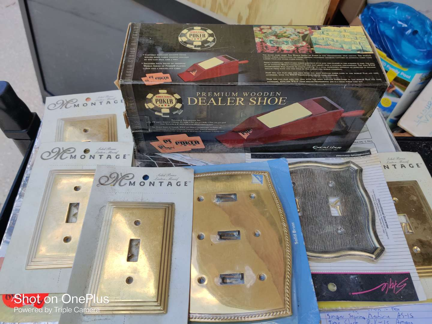 522 a lot of three items grill disposable car dealer and a lot of switch plates covers