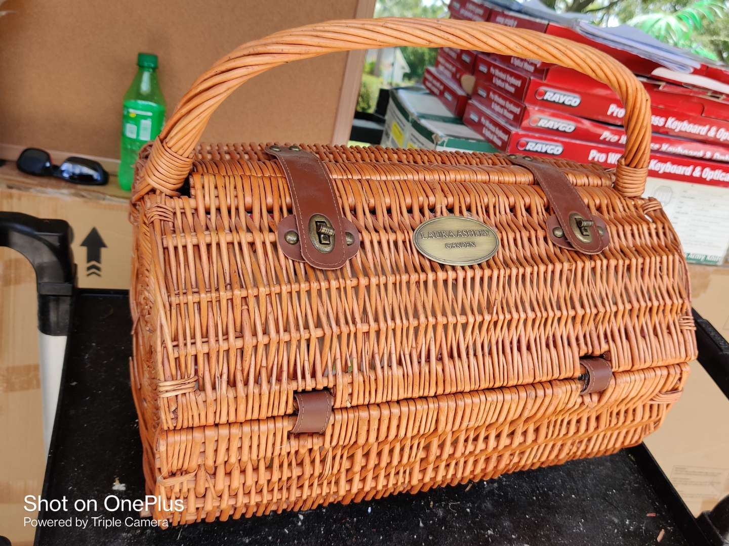 547 Laura Ashley picnic basket stainless flatware very nice