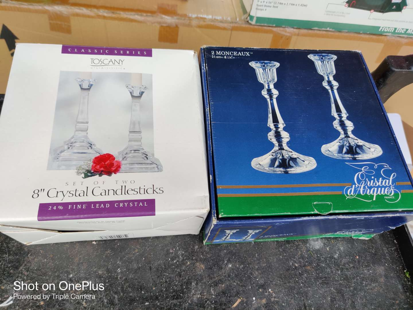 601 two pair of crystal candle holders in the boxes