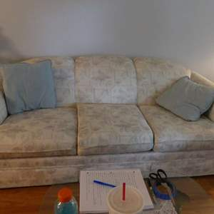 Lot #2 Rolled Arm Skirted Sofa Pavilion Pearl Dusty Blue