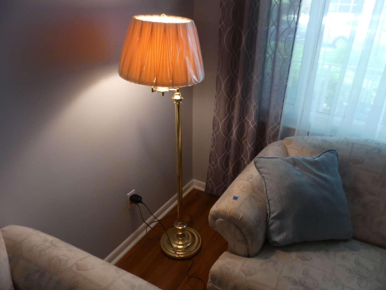 Lot #7 Brass Tone Swing Arm Floor Lamp