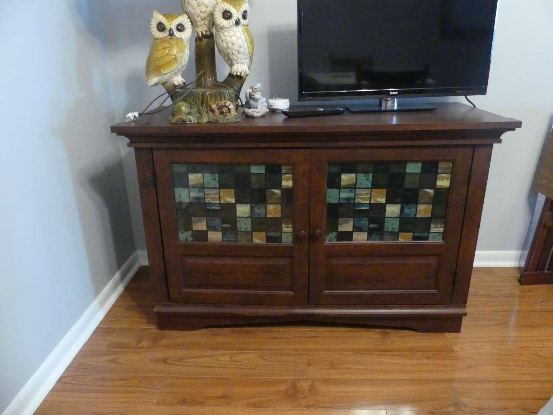 Lot #15 Dark Wood Buffet with Glass Mosaic Doors