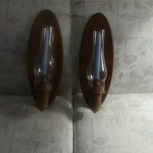 Lot #18 Solid Wood Taper Candle Sconces with Hurricane Glass