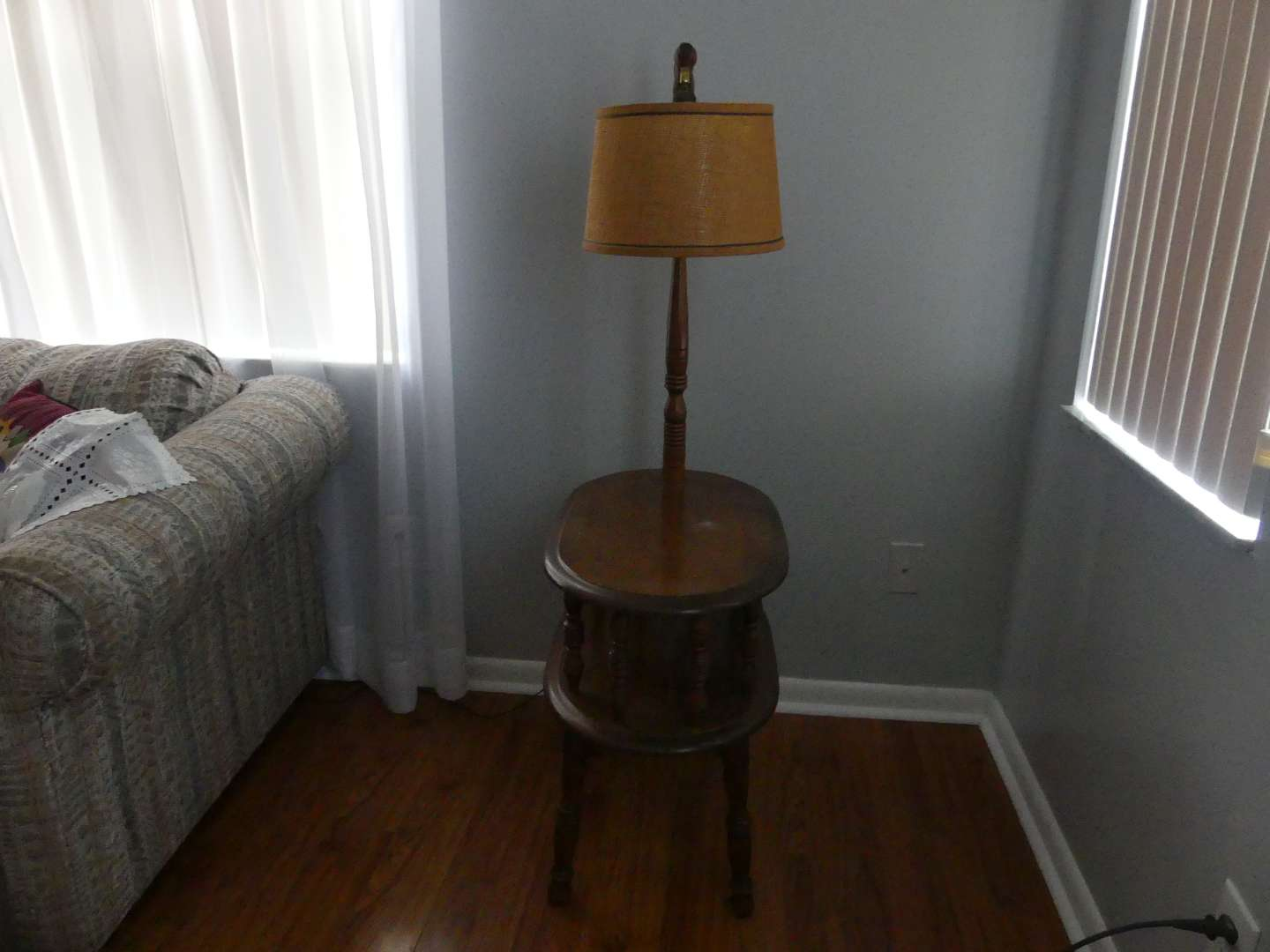 Lot #21 George B. Bent Oval 2-Tiered Maple Side Table with Lamp