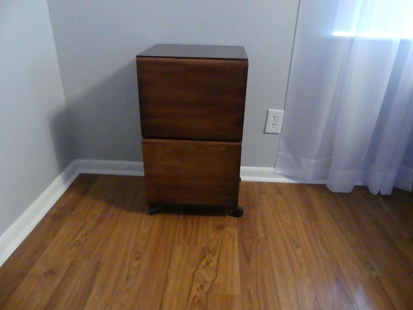 Lot #22 Wooden 2-Drawer File Cabinet with Wheels