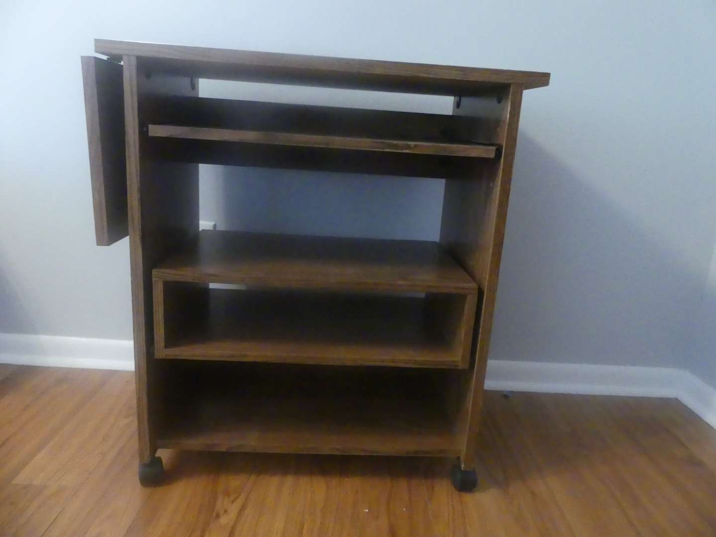 Lot #24 Drop Leaf Computer Cart with Slide Out Keyboard and Cubby Shelf