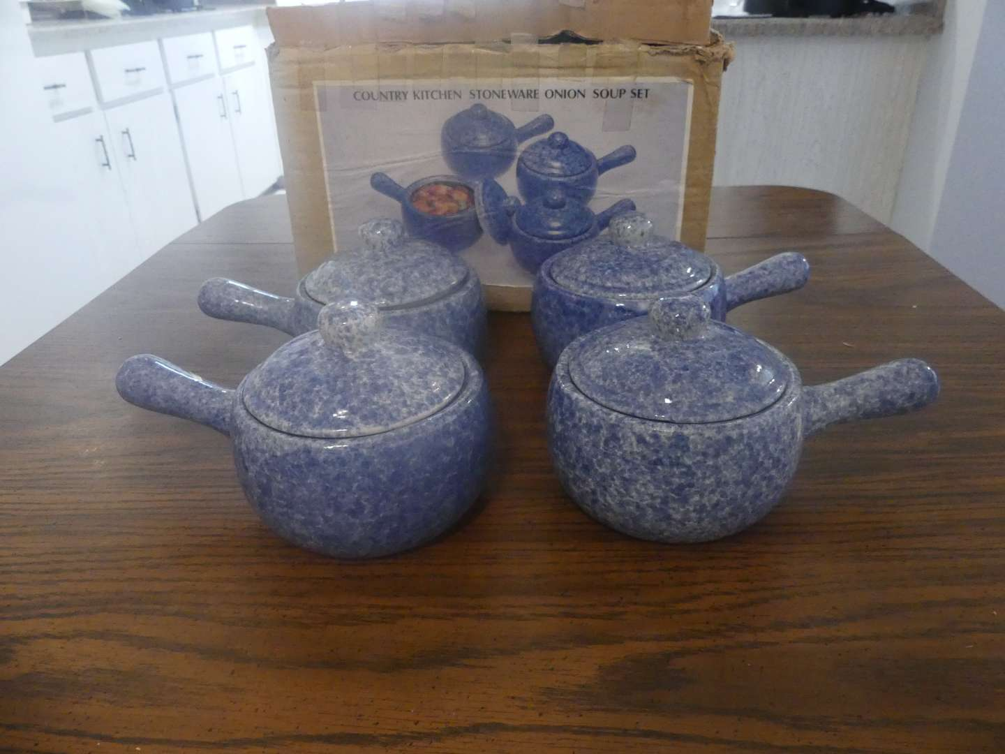 Lot #35 Country Kitchen Stoneware Onion Soup Set - Speckled Blue Set of 8 Never Used