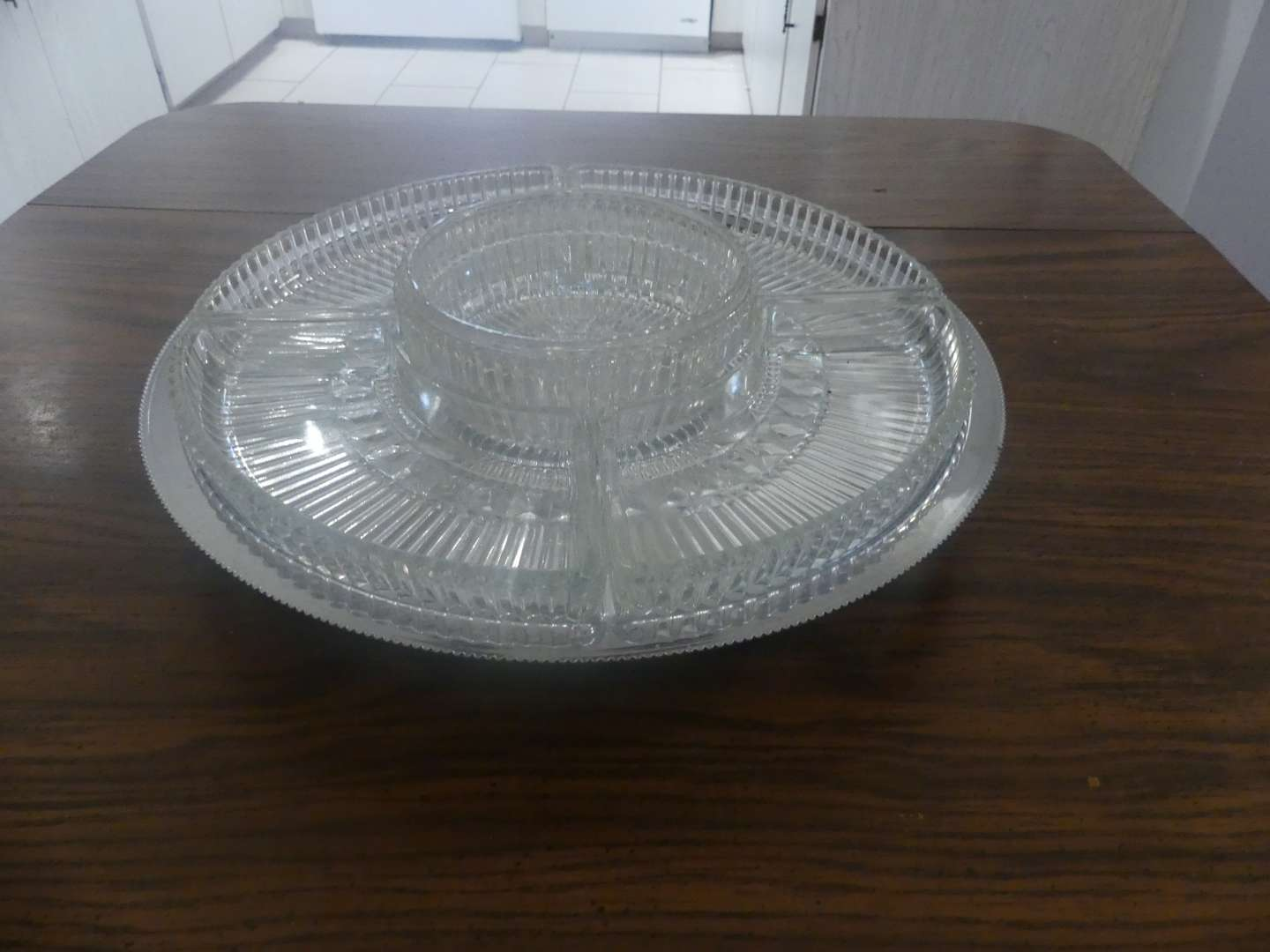 Lot #47 Kromex Pedestal Tray with 5 Ribbed Glass Insets