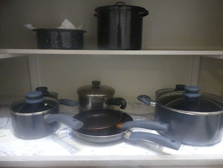 Lot #53 Black Speckled Enamelware - 2 Pots and Colander and Other Cookware