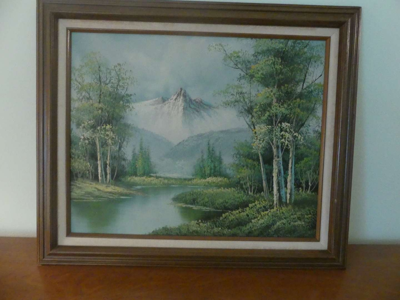 Lot #92 Signed/Framed Oil on Canvas Snowy Peak Landscape by C. Hudson