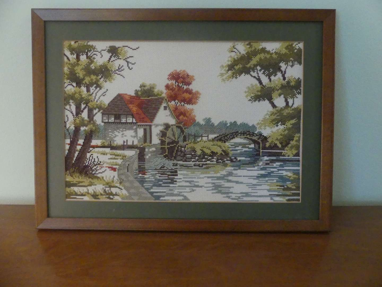 Lot #93 Framed Needlepoint Fall Bridge Landscape