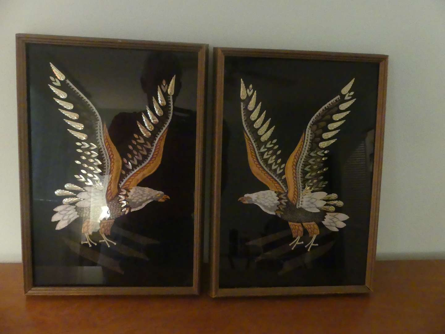 Lot #96 Pair of One-of-a-Kind Framed Stitched/Beaded/Decorated Eagle Artwork
