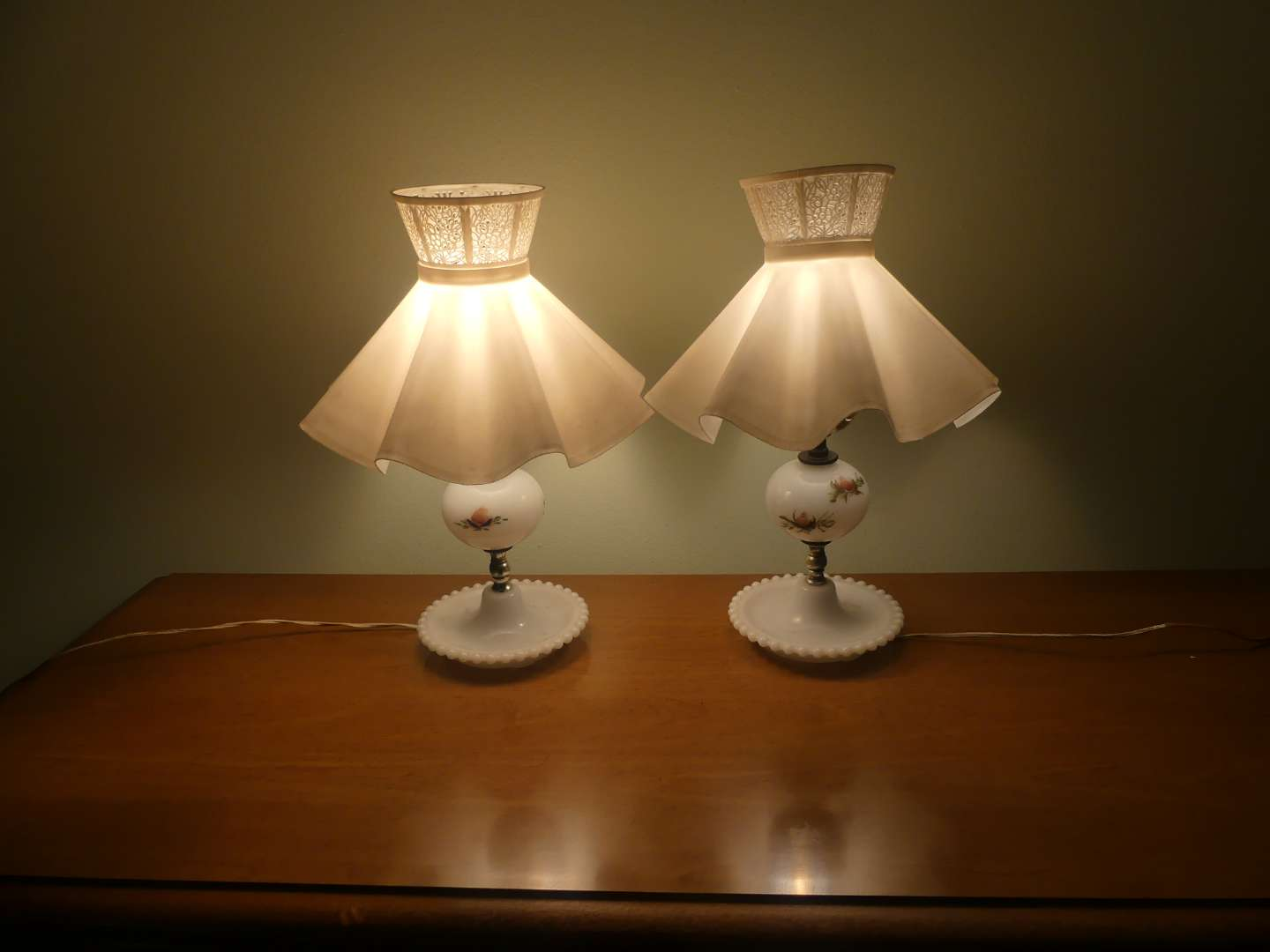 Lot #97 Pair of Hand Painted Milk Glass Boudoir Lamps with Candlewick Bases