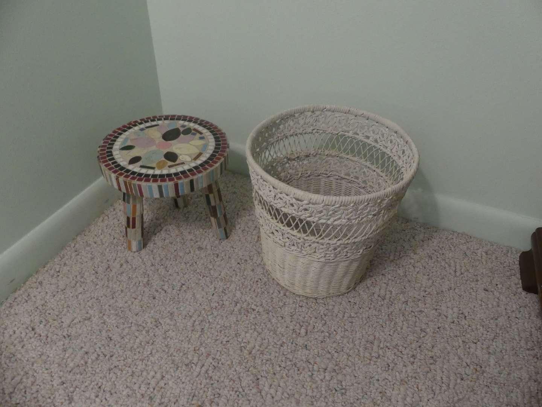 Lot #101 Boonton NJ Fireman's Home Mosaic Stool and White Wicker Waste Basket