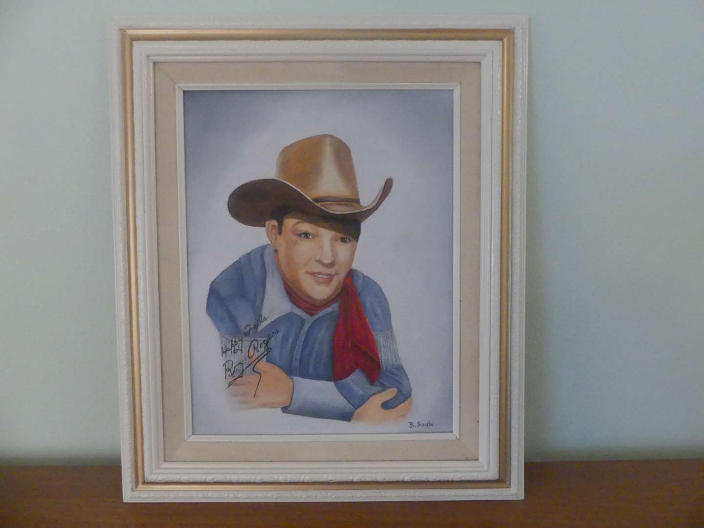 """Lot #110 Signed (B. Soule)/Framed Painting of """"Autographed"""" Roy Rogers Photo"""