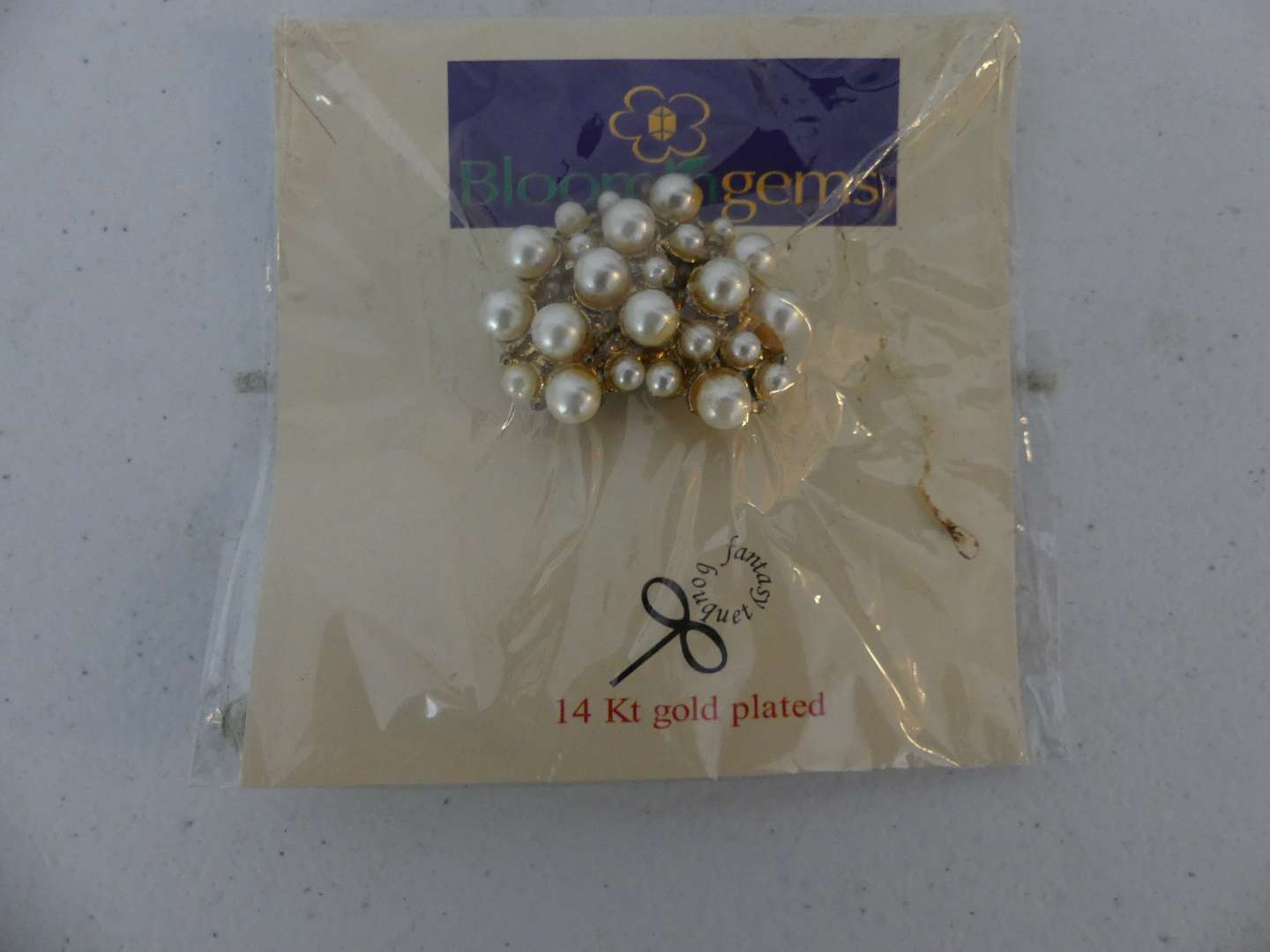 Lot #126 Vintage Bloomin Gems 14k Gold Plated Cultured Pearl Cluster Brooch/Pin - New in Package