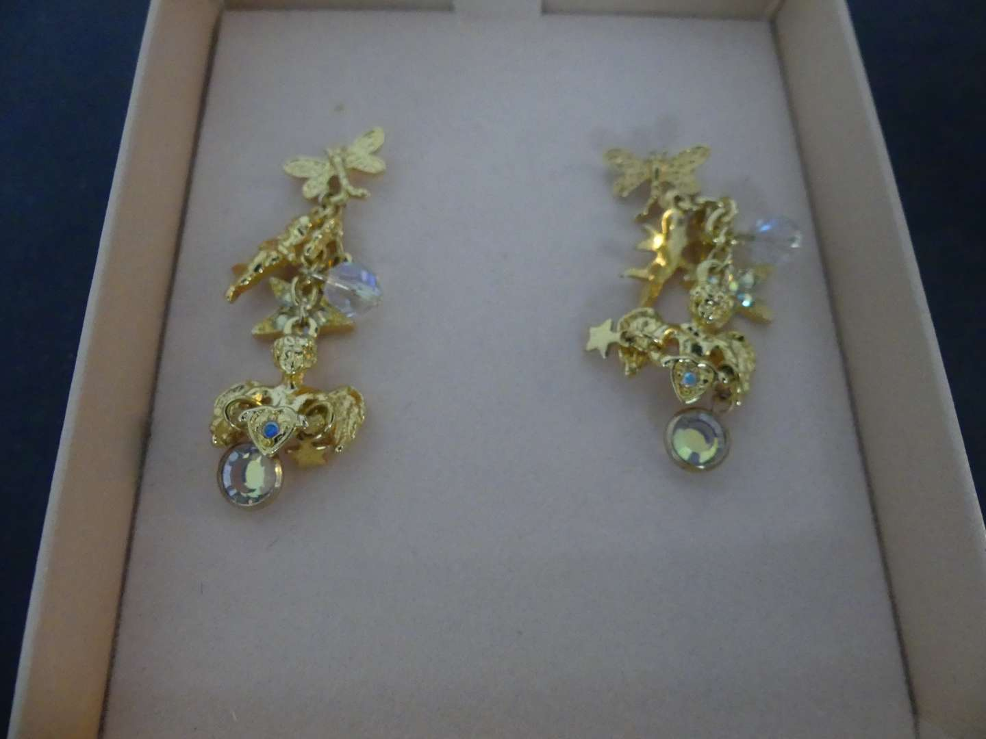 Lot #127 Vintage Kirk's Folly Gold Tone Earrings - Dragonflies, Cupids, Cherubs and Stars - AB Crystals