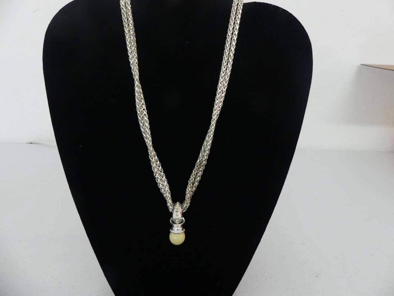 Lot #129 Vintage Joan Rivers Classics Collection Silver Tone Drop Pendant with Interchangeable Colors