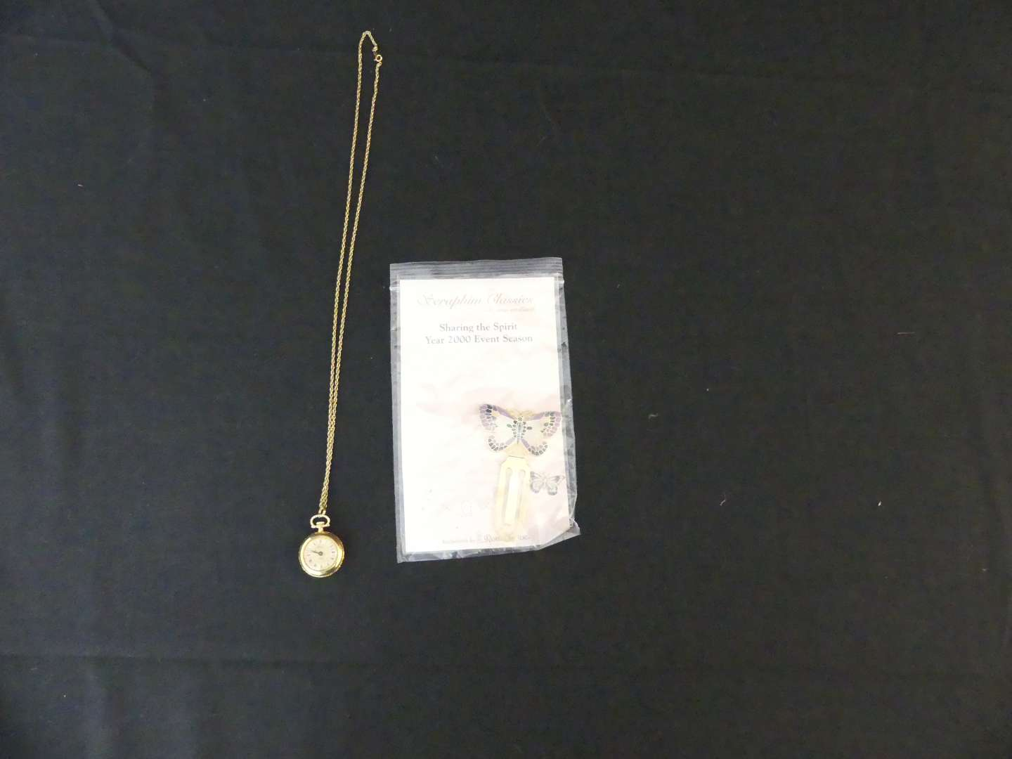 """Lot #132 Vintage Arnex 17 Jewel Pendant Watch with 24"""" 14k FN Chain and Cloissoné Butterfly Bookmark"""