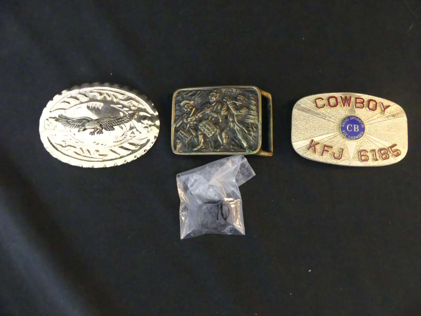 Lot #159 Lot of 3 Belt Buckles and Men's Size 10 Ring