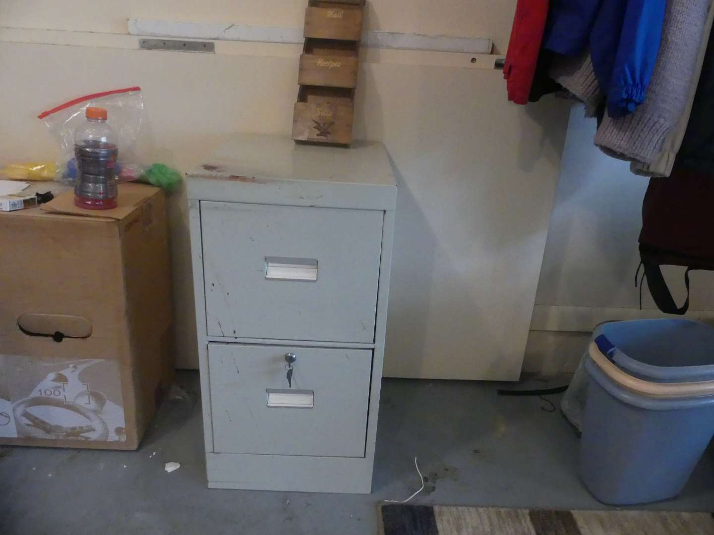 Lot #169 2-Drawer File Cabinet with Keys and Wooden Mail Sorter