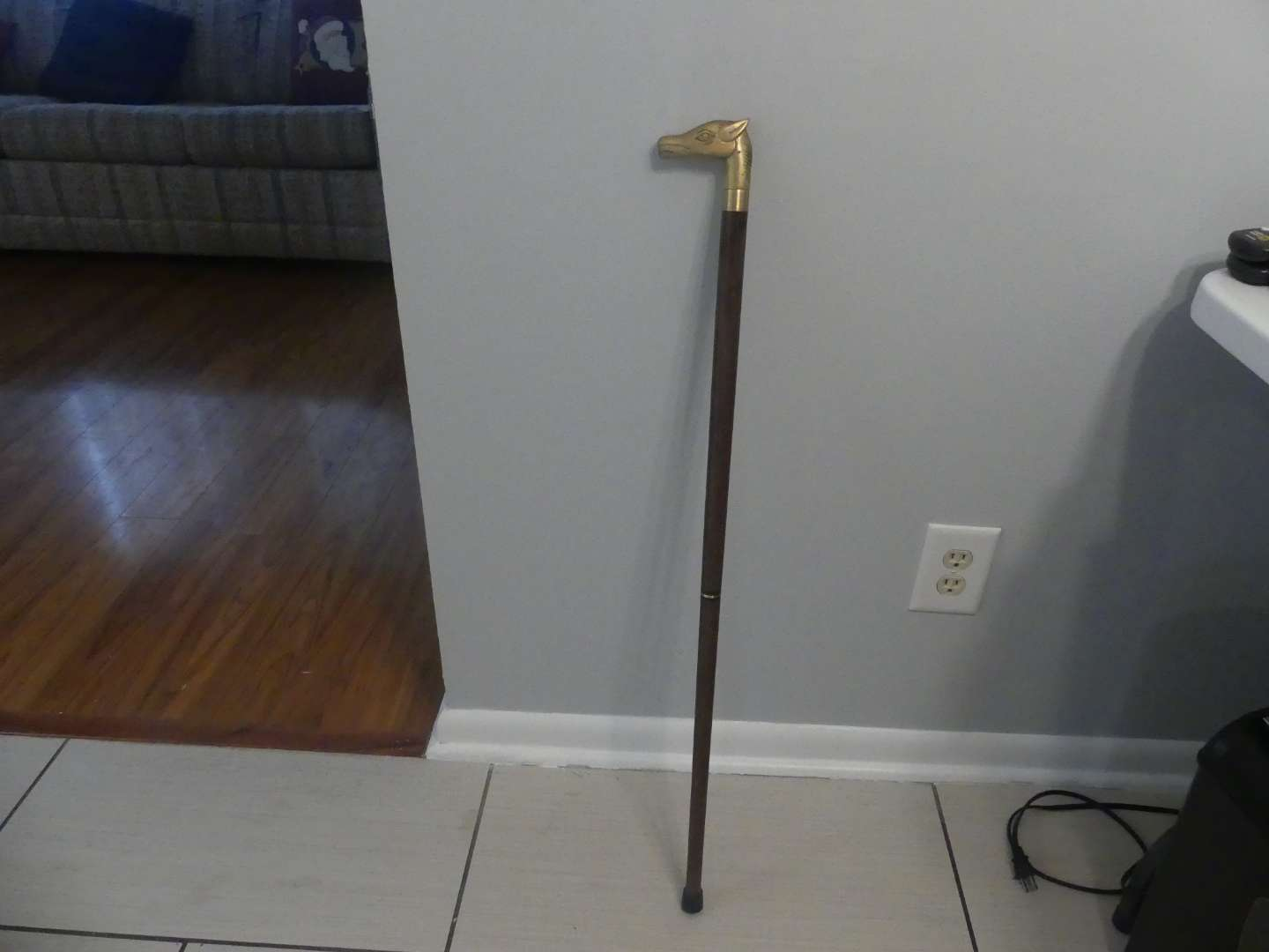 Lot #180 Beautiful Wood Cane with Gold Tone Horsehead Handle