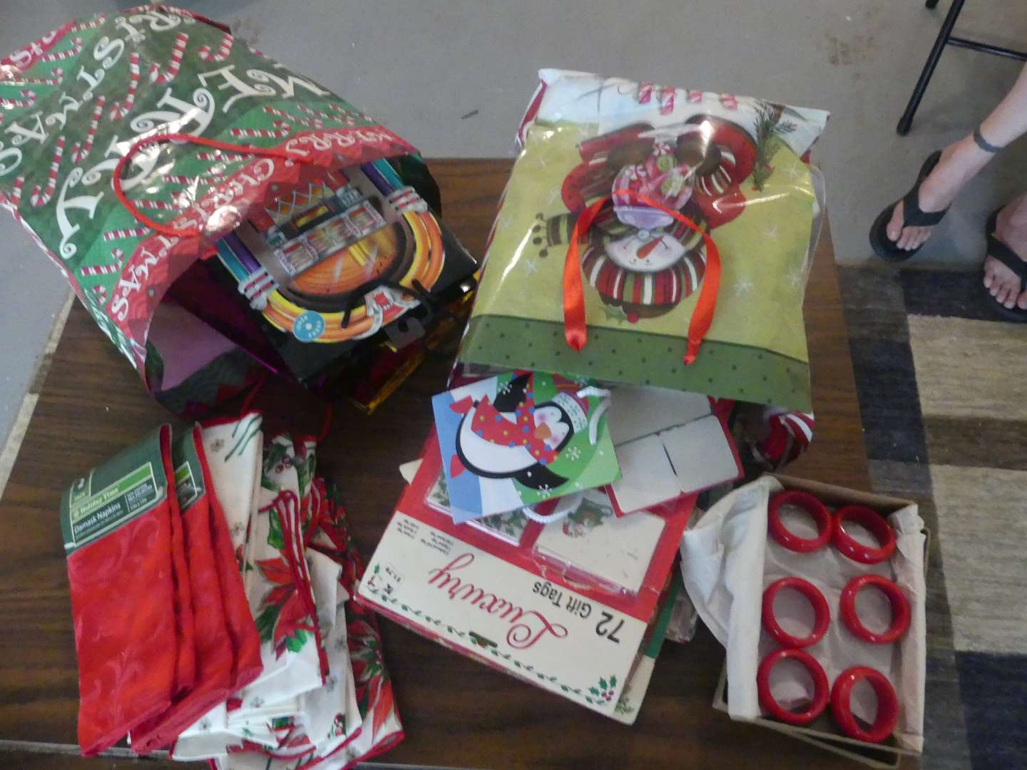 Lot #219 Christmas Wrapping Bags, Boxes & Tags, Napkin Rings and Napkins