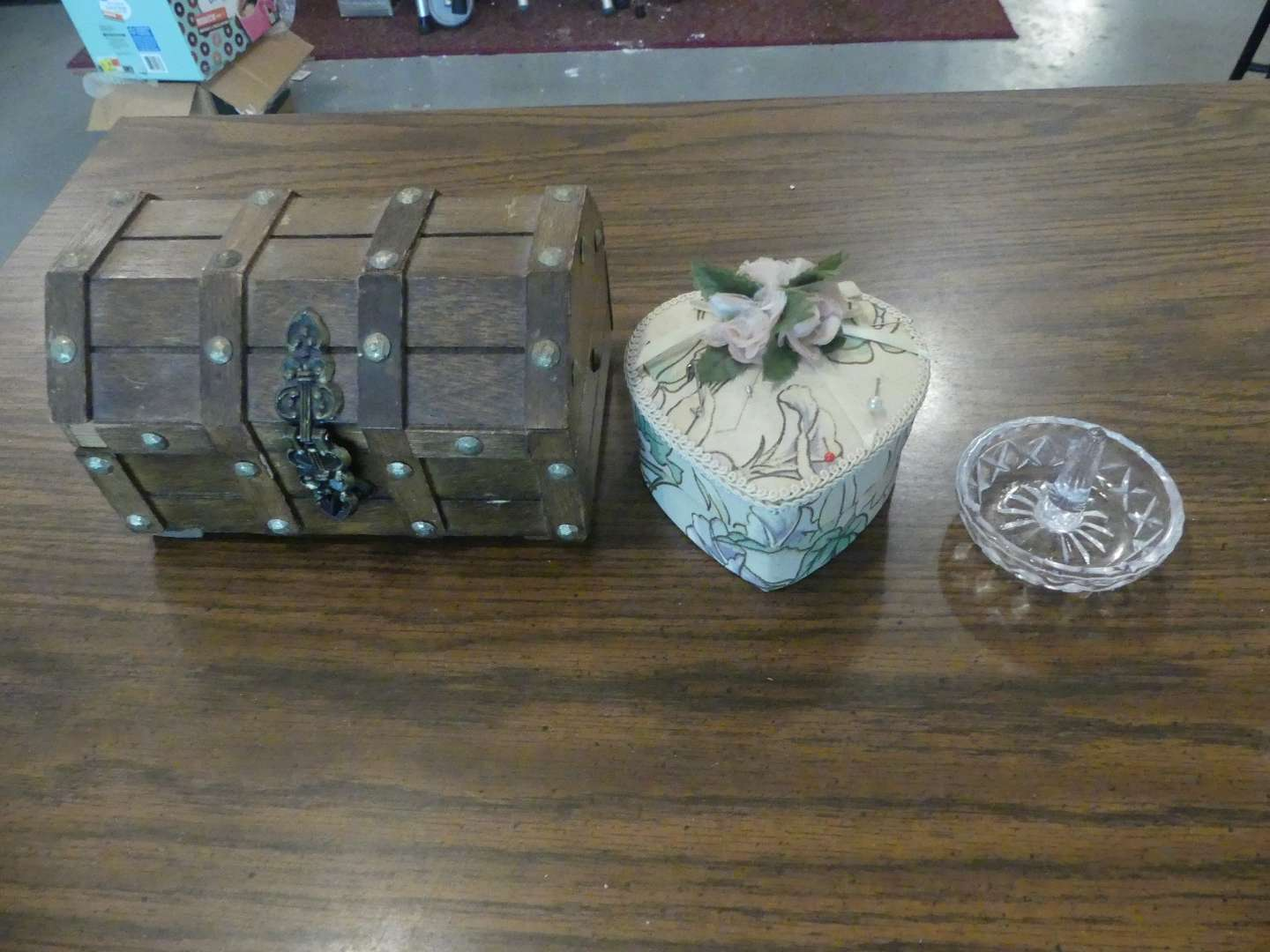 Lot #221 Jewelry/Trinket Boxes and Cut Glass Ring Holder