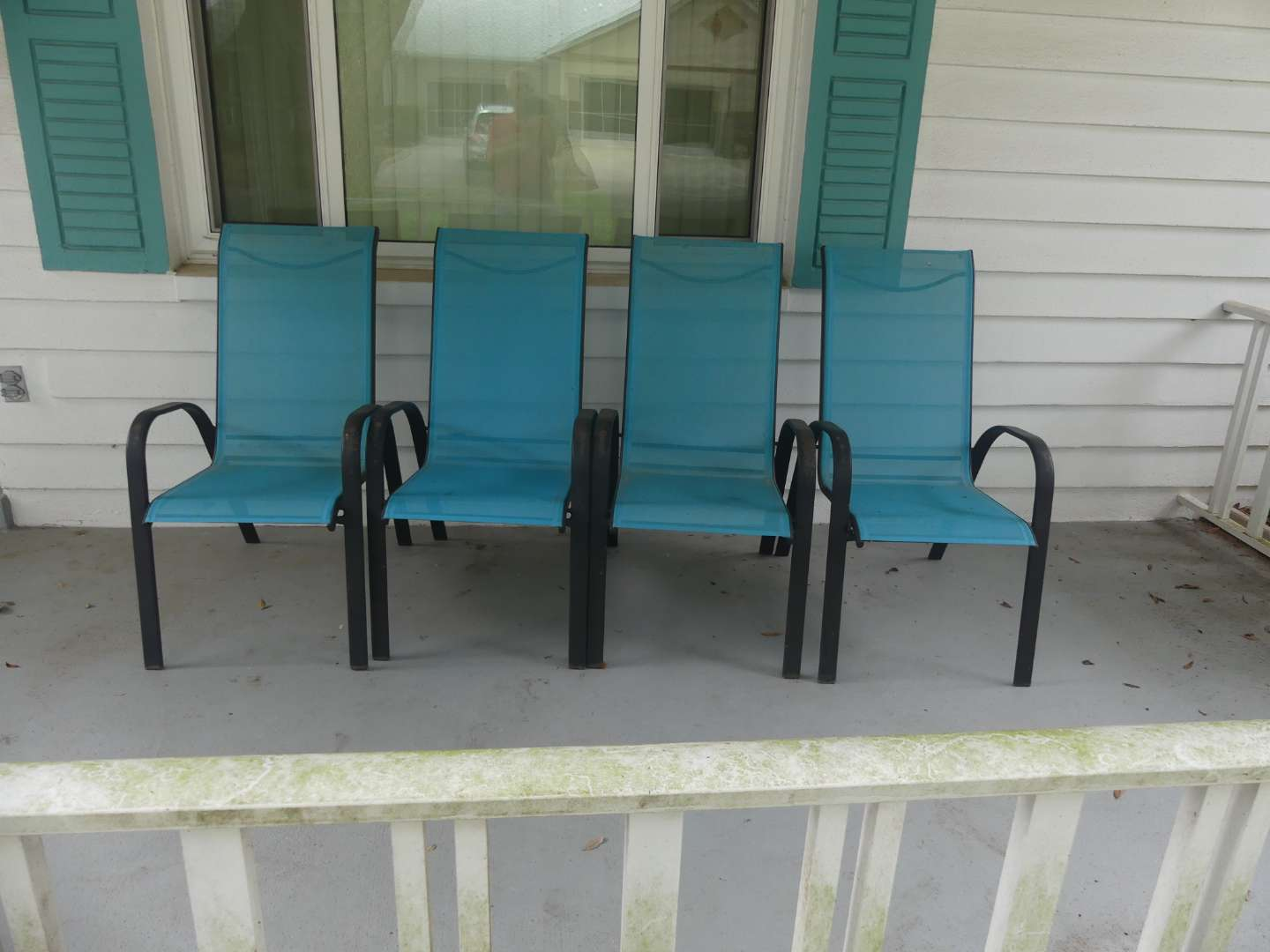Lot #223 Set of 4 Room Essentials Nicollet Collection Sling Chairs - Turquoise