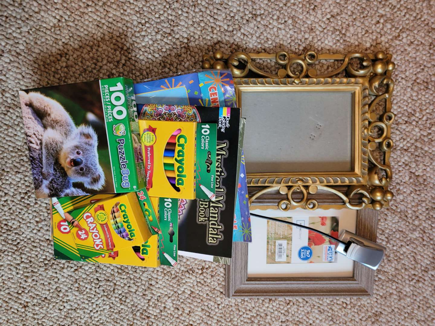 Lot # 40 Colored Pencils, Coloring Books & Picture Frames