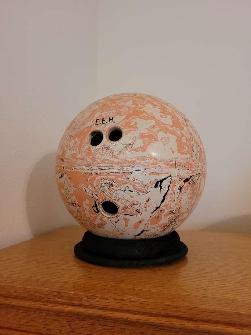 Lot # 42 Vintage Bowling Ball & Stand