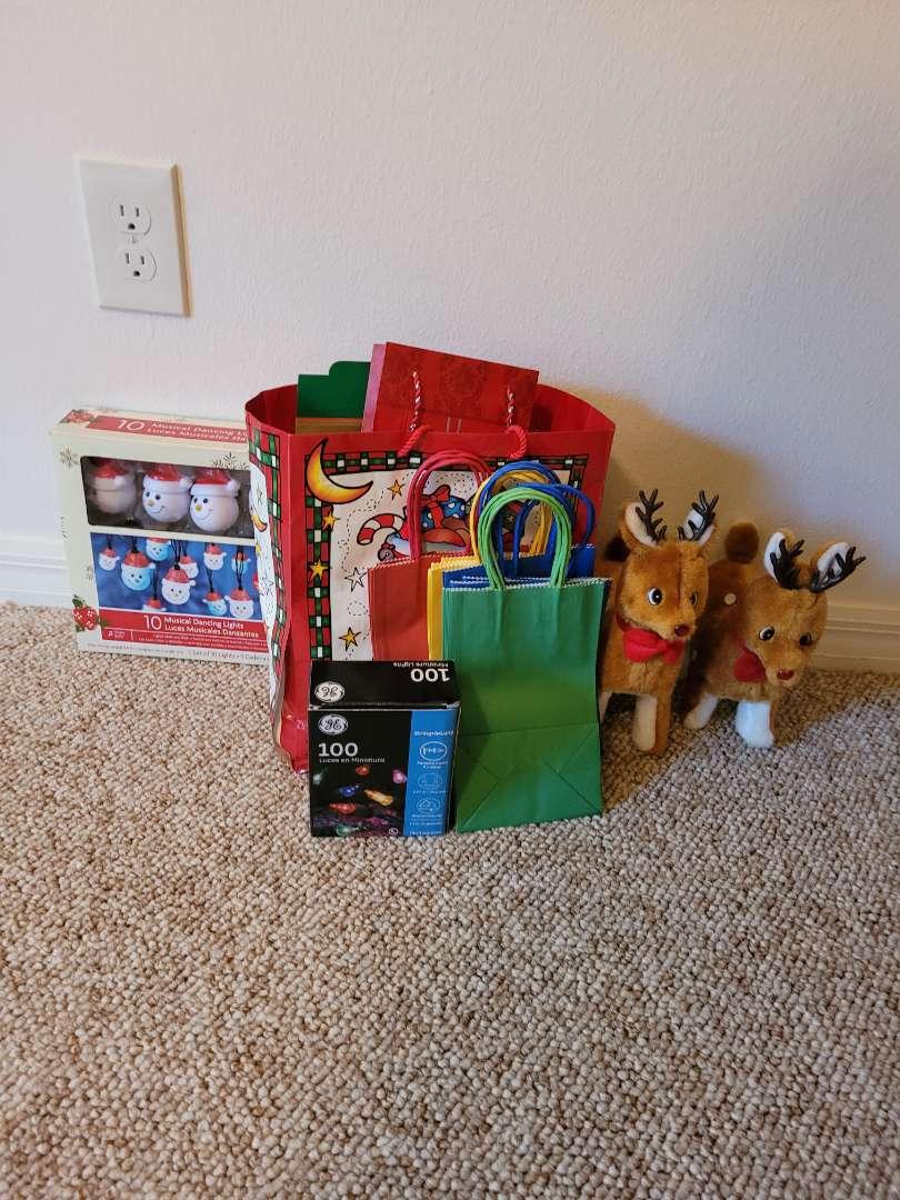 Lot # 53 Christmas Bags, Reindeer & Lights