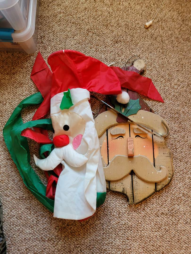 Lot # 55 Santa Flag & Wood Santa Hanger