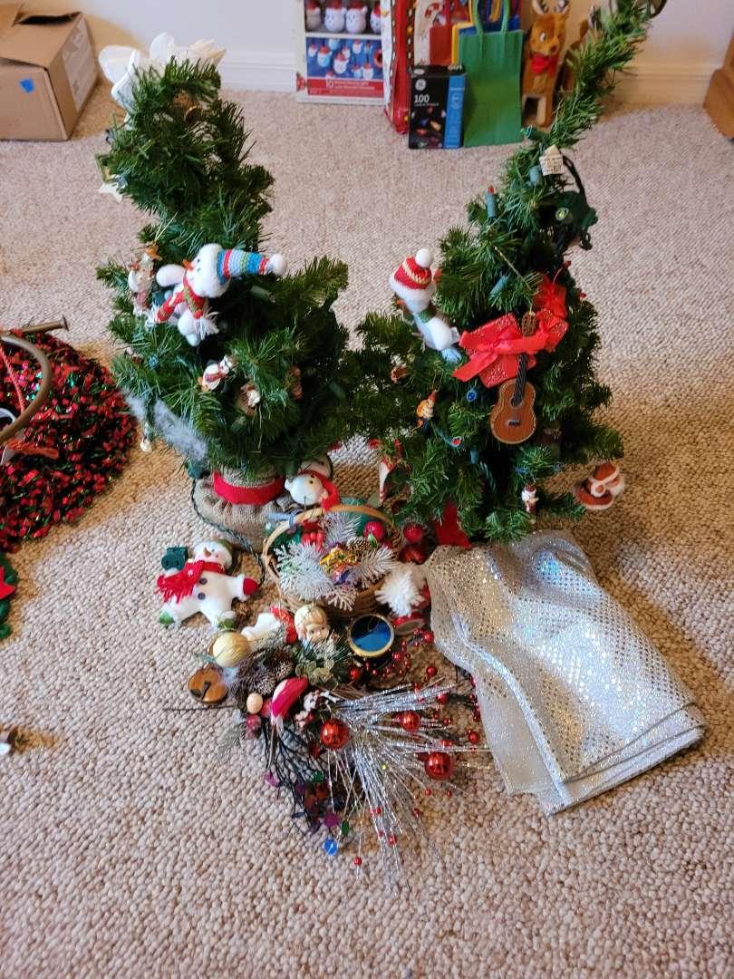 Lot # 58 Tabletop Christmas Trees & Ornaments
