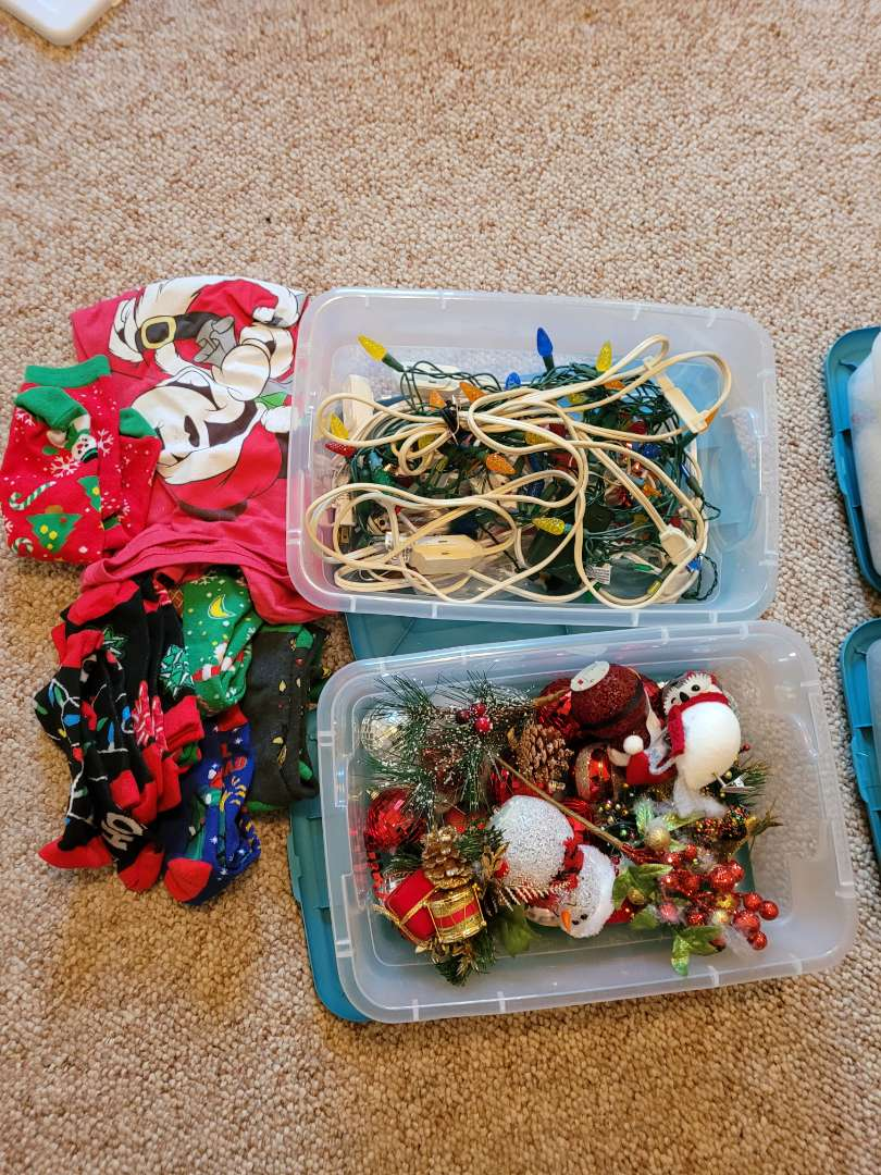 Lot # 59 Christmas Ornaments, Shirt, Socks & More