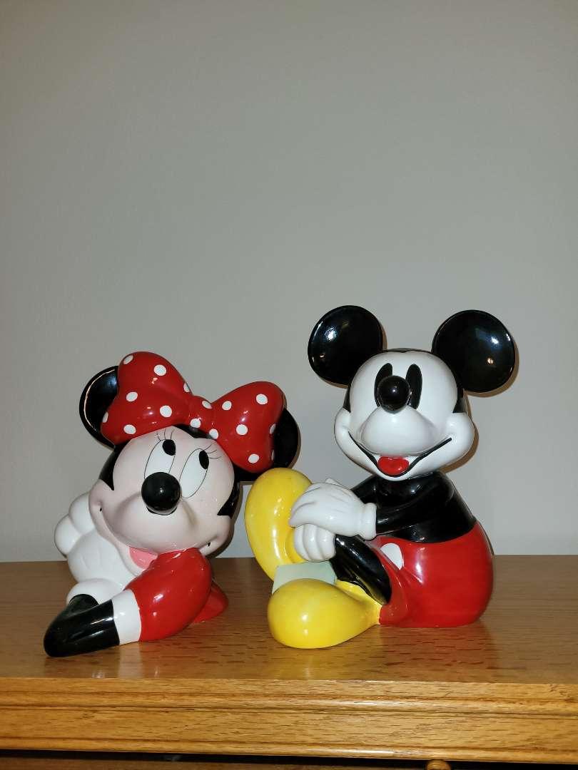 Lot # 82 Musical Mickey Cookie Jar & Minnie Figurine