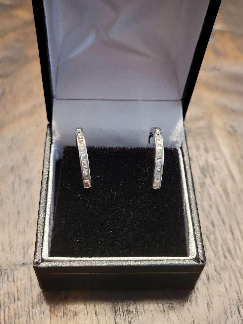 Lot # 95 Brilliant 1/4ct Baguette Diamond Hoop Earrings- Sterling Silver- Natural Diamonds - NBW